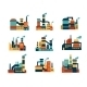 Flat Industrial Buildings and Factories Icons - GraphicRiver Item for Sale