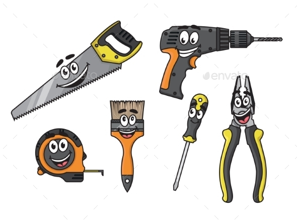 GraphicRiver Cartoon DIY Tools Characters 8983500