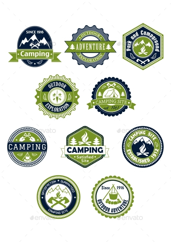 GraphicRiver Camping and Travel Icons or Badges 8983510