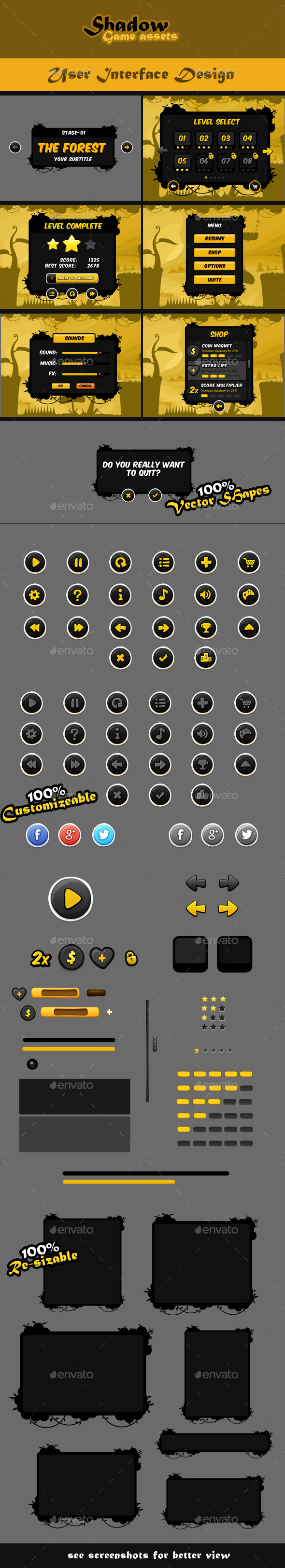 GraphicRiver Shadow Game Assets GUI Pack 8984414