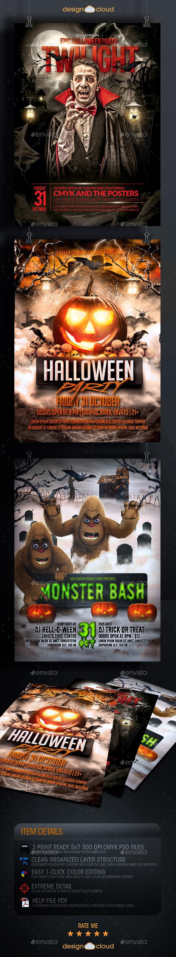 GraphicRiver Halloween Flyer Template Bundle 8985005