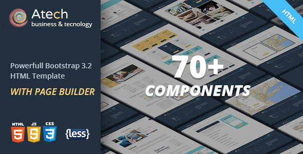 ThemeForest Atech Bootstrap LESS Template with Page Builder 8986248