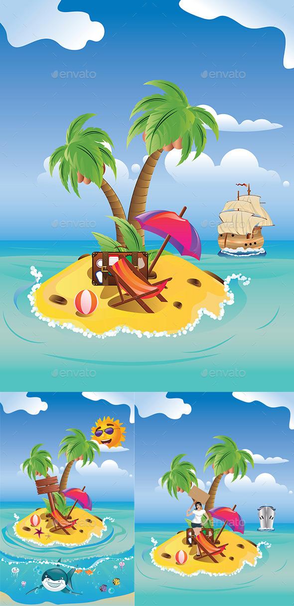 GraphicRiver Cartoon Palm Island 8987325