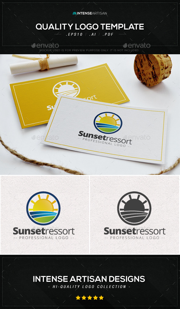 GraphicRiver Sunset Ressort Logo Template 8987342