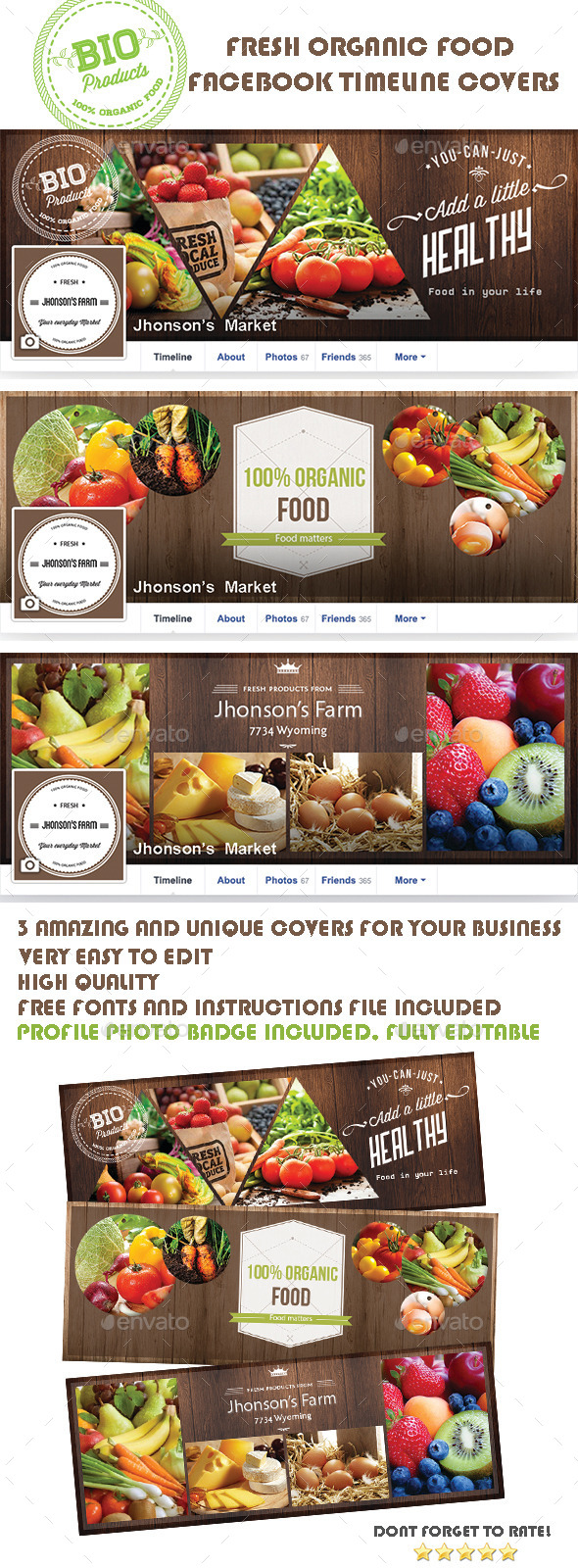 GraphicRiver Organic Food Facebook Covers 8987357