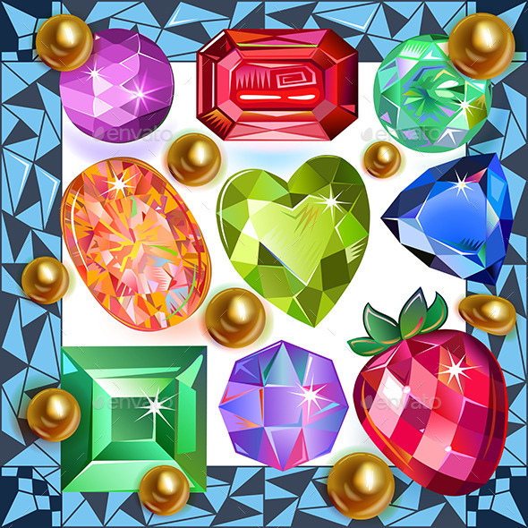 GraphicRiver Framed Picture Precious Stones 8987415
