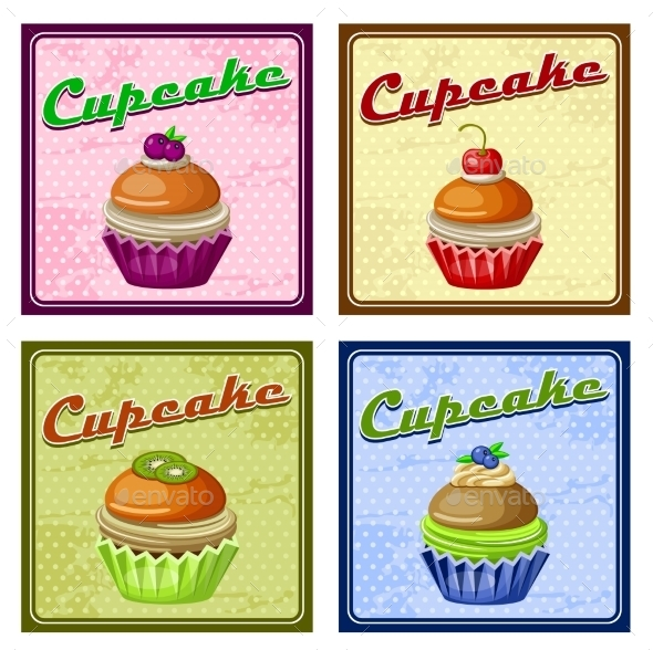 GraphicRiver Set of Four Vintage Posters Cupcake 8987439