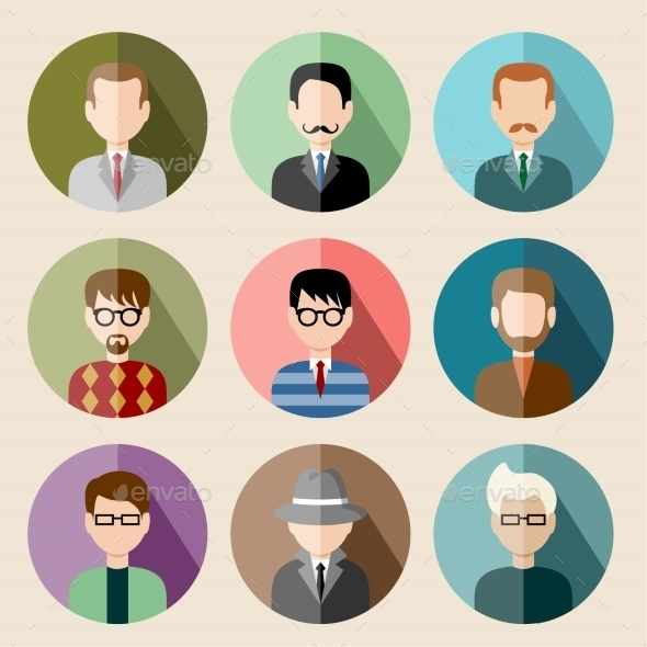 GraphicRiver Set of Circle Flat Icons with Man 8987451
