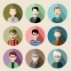 Set of Circle Flat Icons with Man.  - GraphicRiver Item for Sale