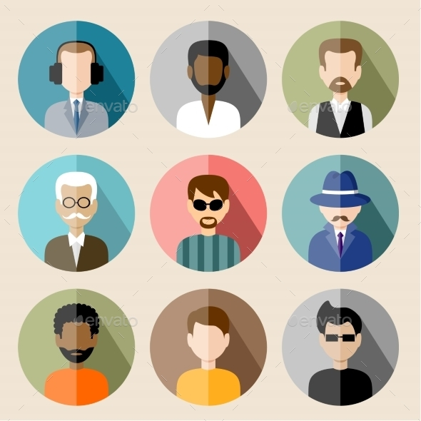 GraphicRiver Set of Circle Flat Icons with Man 8987466