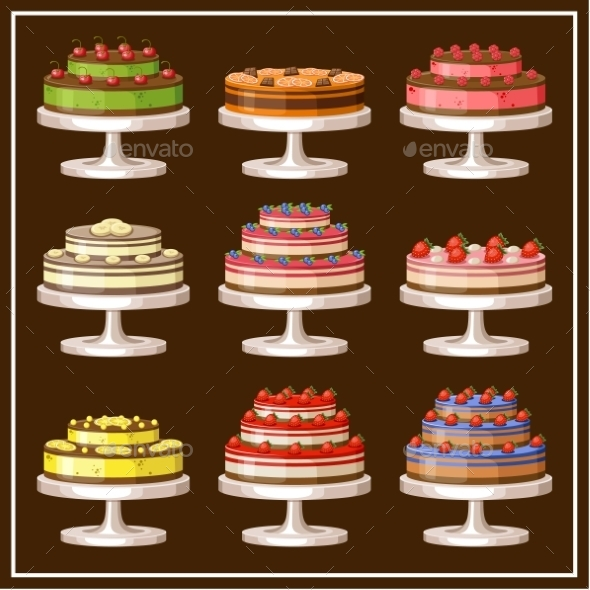 GraphicRiver Set of Cakes 8987469