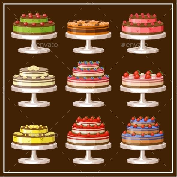 GraphicRiver Set of Cakes 8987469