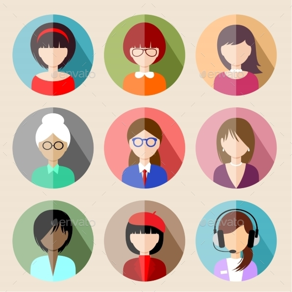 GraphicRiver Set of Circle Flat Icons with Women 8987472