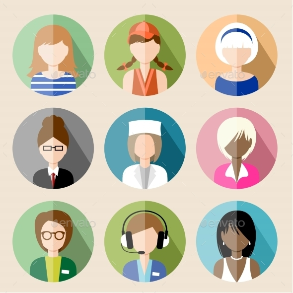 GraphicRiver Set of Circle Flat Icons with Women 8987478