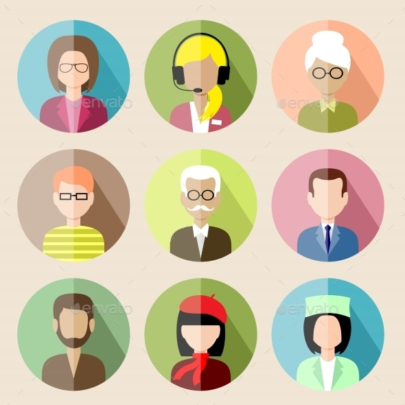 GraphicRiver Set of Circle Flat Icons with People 8987483