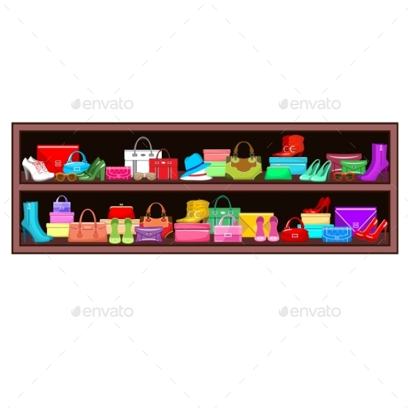GraphicRiver Shelf with Bags and Shoes 8987488