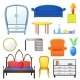 Set Vector Elements Furniture Isolated  - GraphicRiver Item for Sale