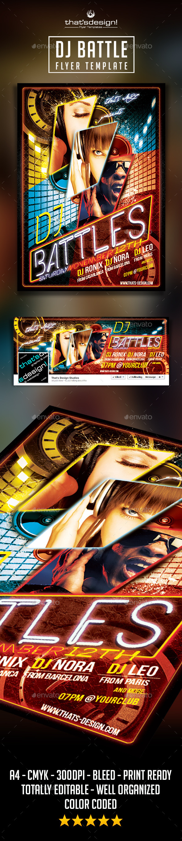Dj Battle Flyer Template - Clubs & Parties Events
