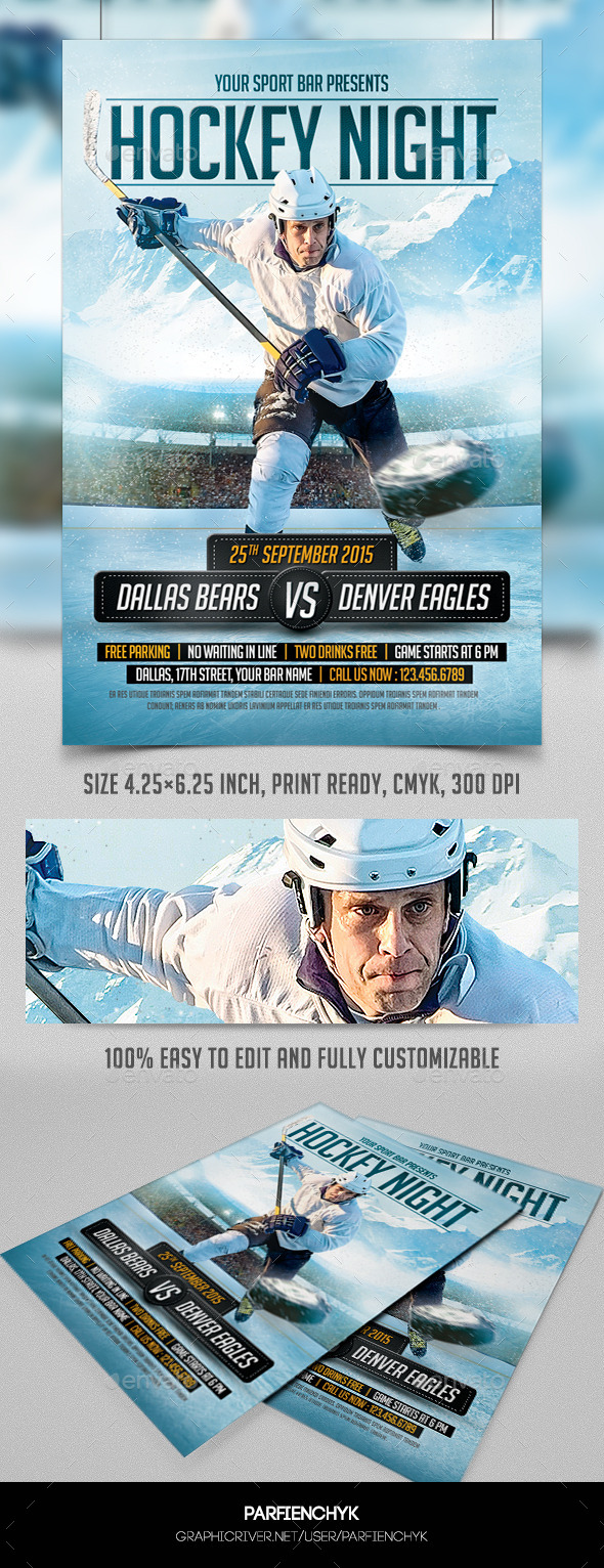 GraphicRiver Hockey Night Flyer Template 8970523