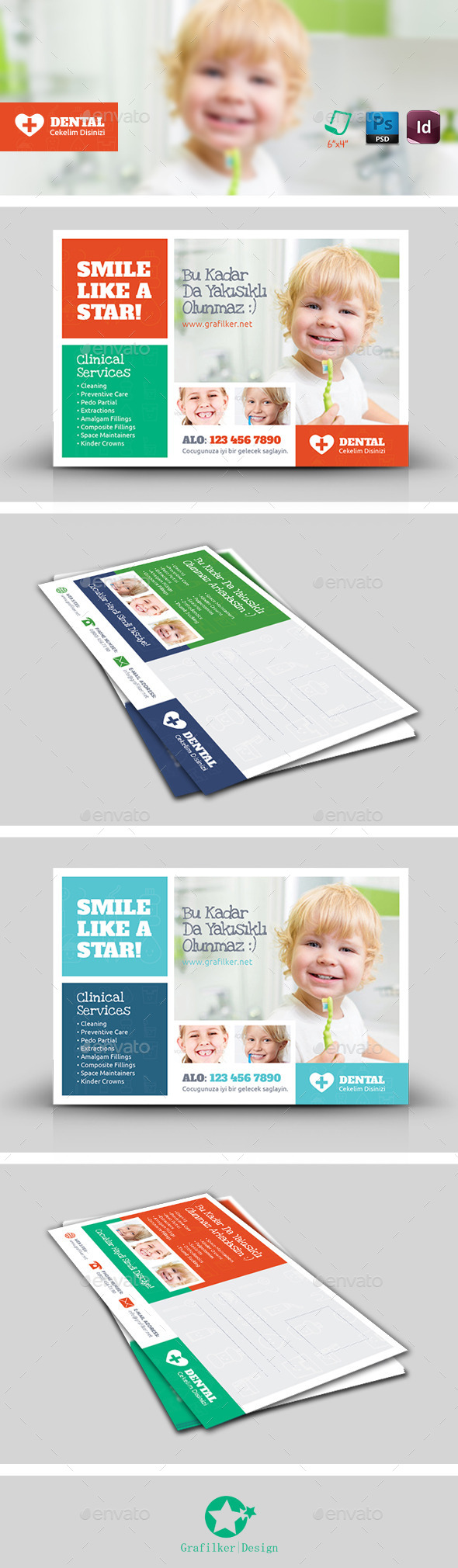 GraphicRiver Kids Dental Postcard Templates 8987810
