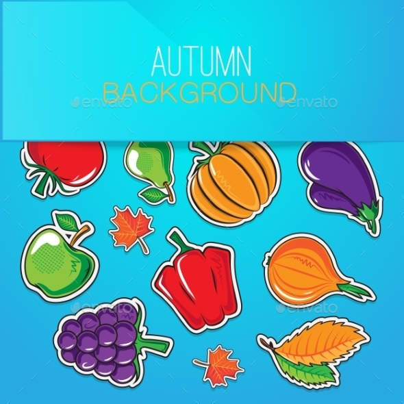GraphicRiver Autumn Background with Vegetables and Fruits 8987851