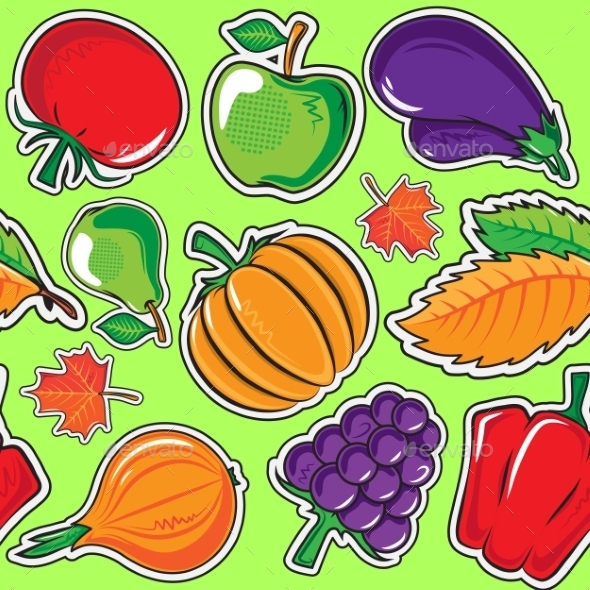 Autumn Pattern with Vegetables and Fruits.