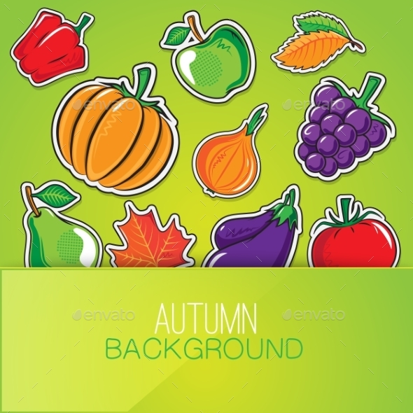 GraphicRiver Autumn Background with Vegetables and Fruits 8987855