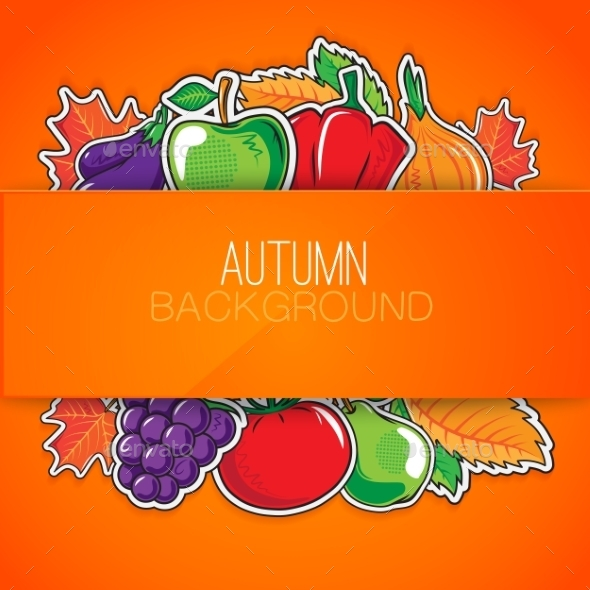 GraphicRiver Autumn Background with Vegetables and Fruits 8987864