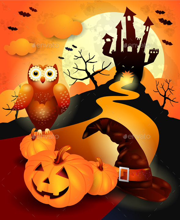 GraphicRiver Halloween Background with Owl in Orange 8987894