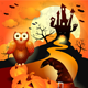Halloween Background with Owl in Orange  - GraphicRiver Item for Sale