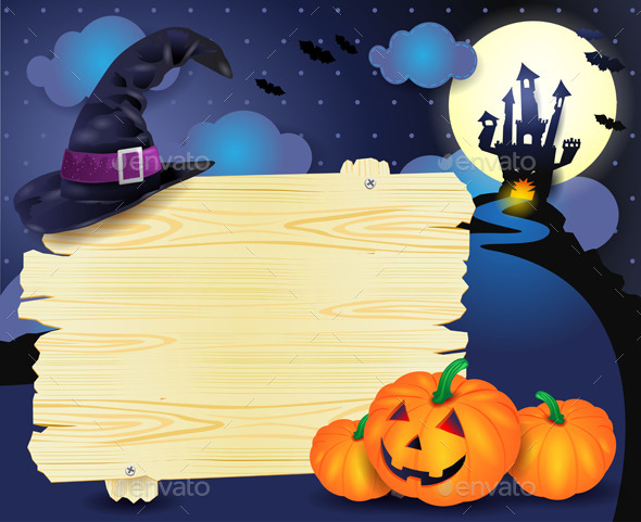 Halloween Background with Sign in Blue