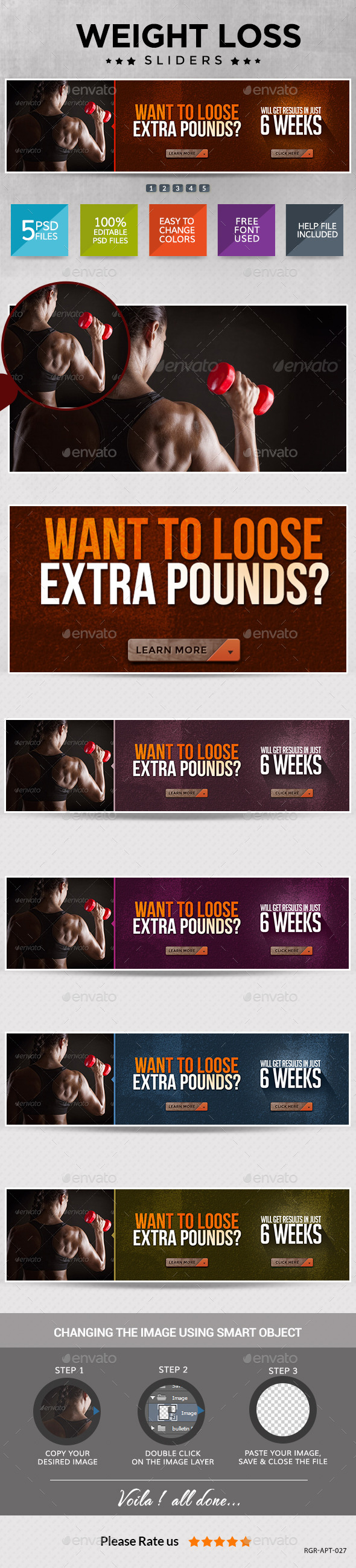 GraphicRiver Weight Loss and Fitness Sliders 8987942