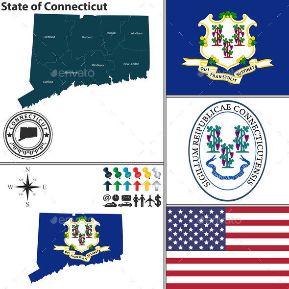 GraphicRiver Map of state Connecticut USA 8987969