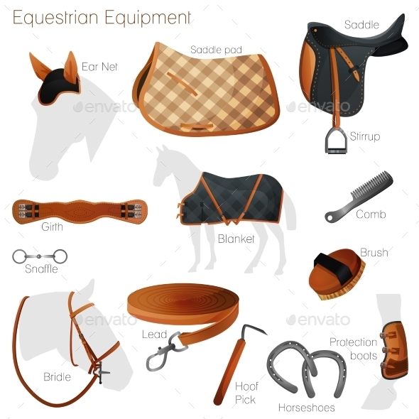 GraphicRiver Set of Equestrian Equipment Vector 8988007
