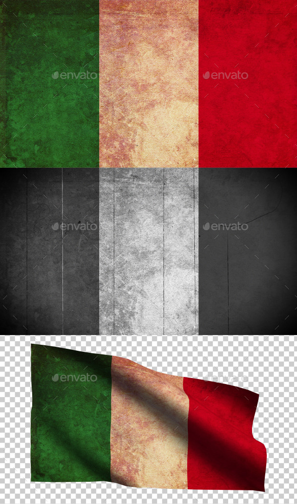 GraphicRiver Italy Flag Grunge and Retro 8988076