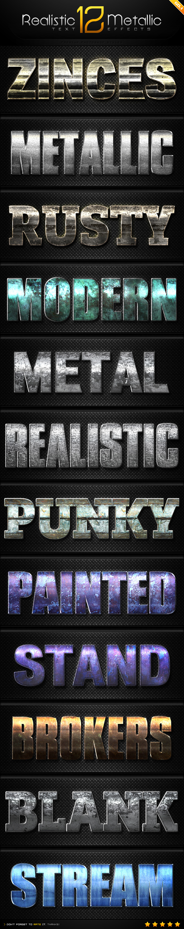 GraphicRiver 12 Realistic Metallic Text Effect Styles GO.1 8988079