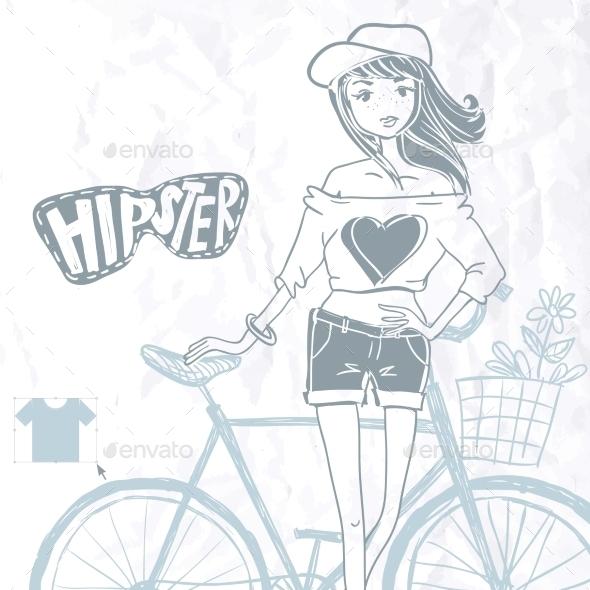 GraphicRiver Hipster Teenage Girl On Her Vintage Bike 8988145