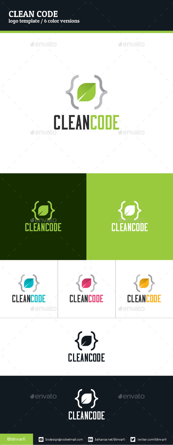 GraphicRiver Clean Code Logo Template 8988195