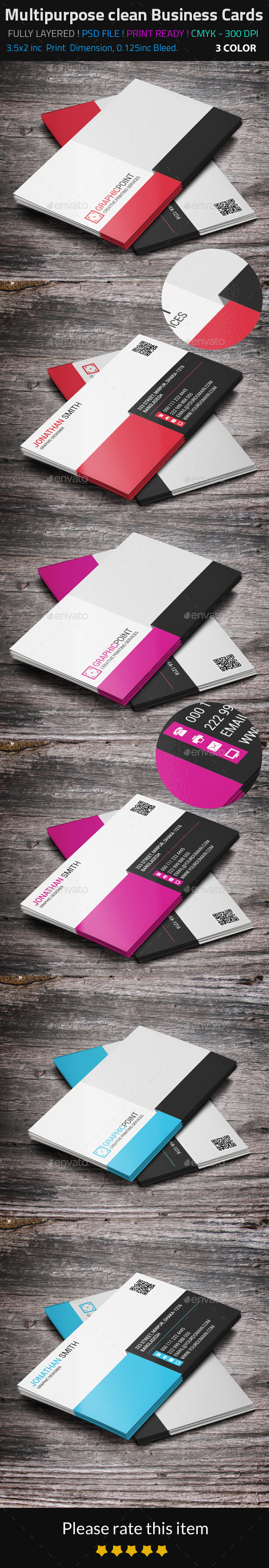 GraphicRiver Multipurpose Clean Business Cards 8988218