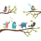 Cartoon Birds on Branches - GraphicRiver Item for Sale