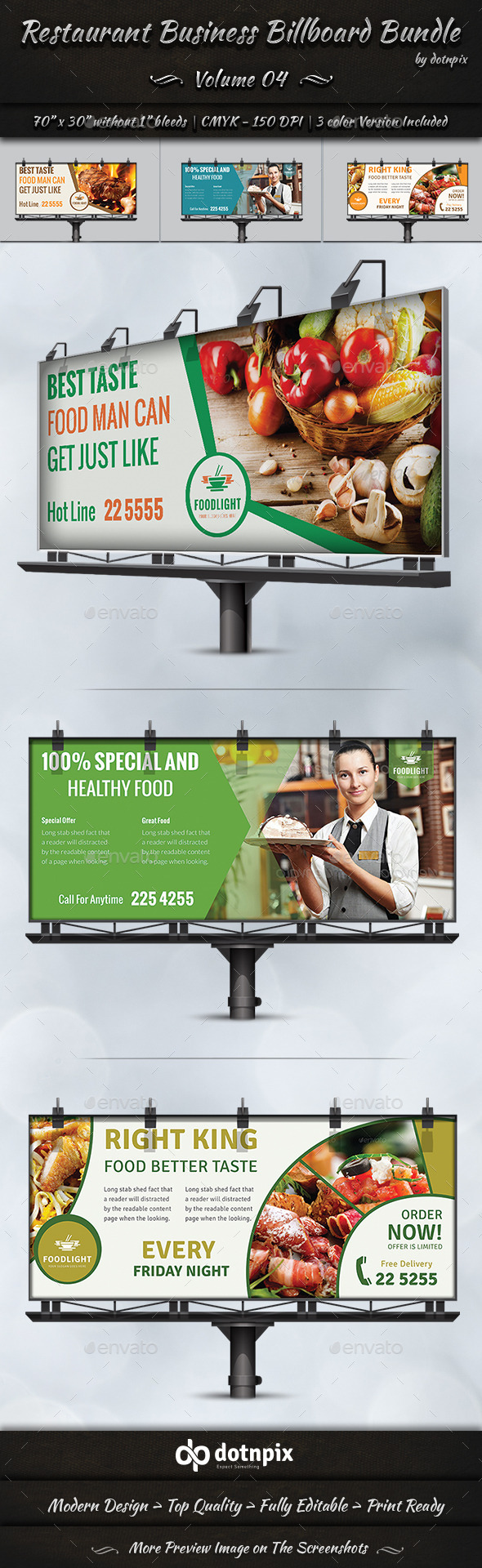 GraphicRiver Restaurant Business Billboard Bundle Volume 4 8988252