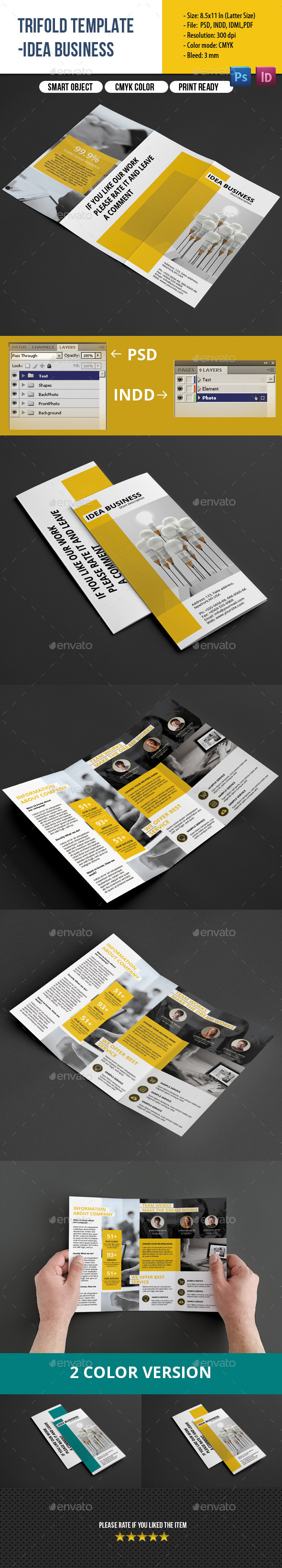 GraphicRiver Clean Trifold Business Brochure 8988281