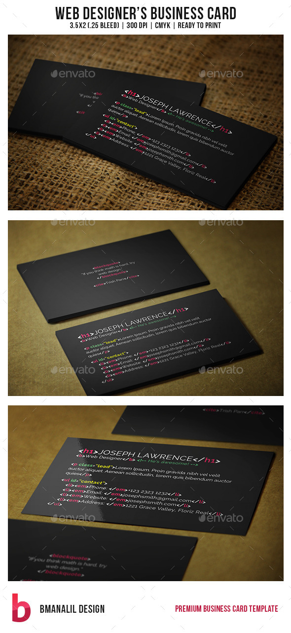 GraphicRiver Web Designer s Business Card 8988436