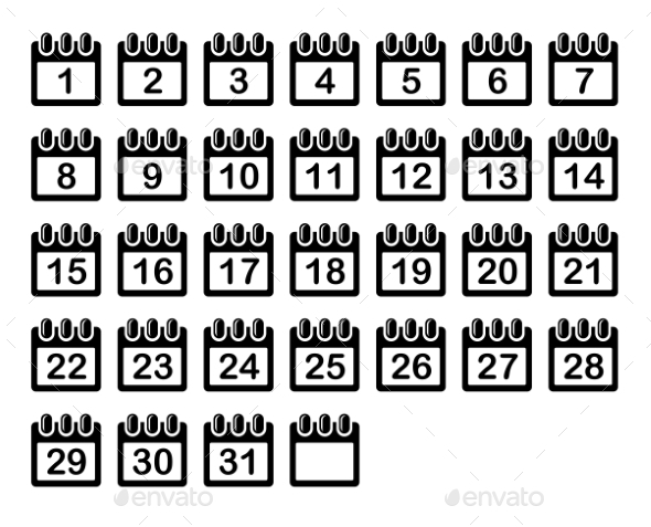 GraphicRiver Simple Calendar Month Icons Set Vector 8988450