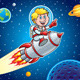 Kid Blasting Through Space On A Rocket - GraphicRiver Item for Sale