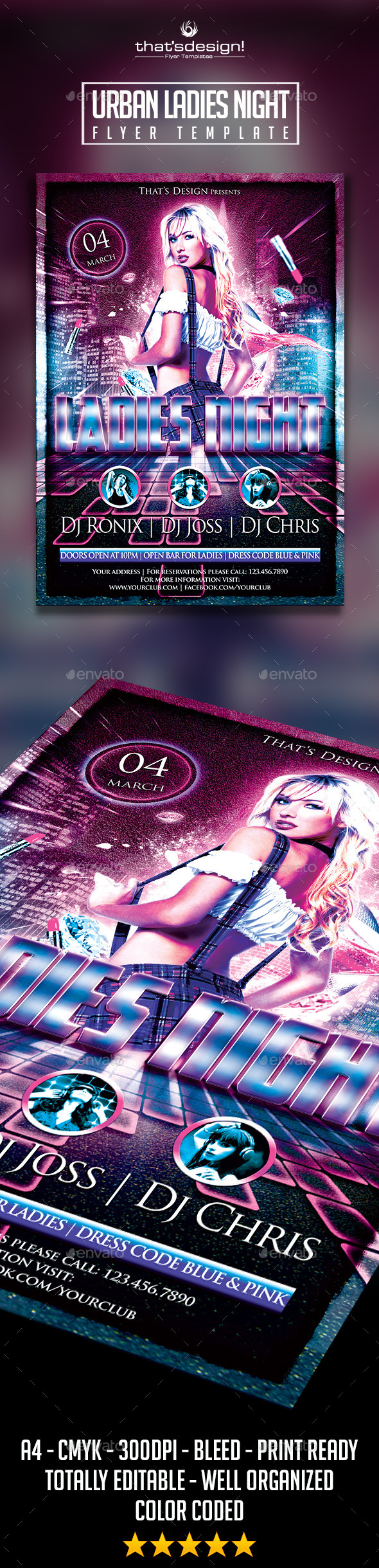 Urban Ladies Night Flyer Template - Print Templates