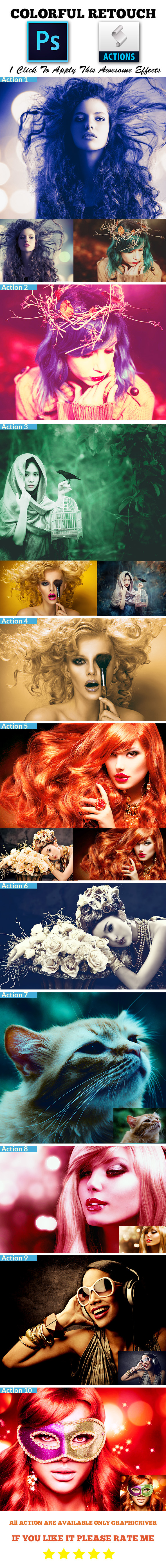 GraphicRiver Colorful Retouch Photoshop Action 8988077