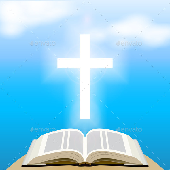 GraphicRiver Bible and Shining Cross Over Blue Sky 8989037