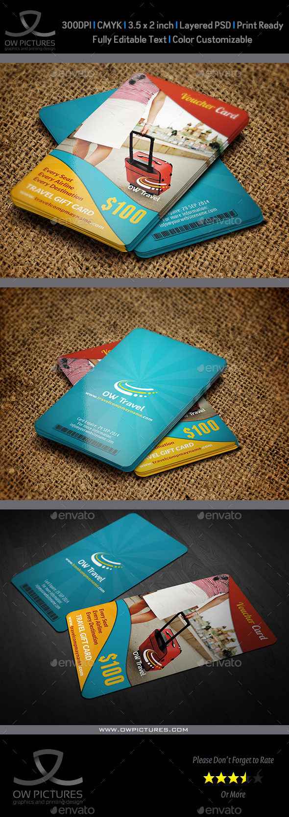 GraphicRiver Travel Gift Voucher Card Template Vol.13 8989135