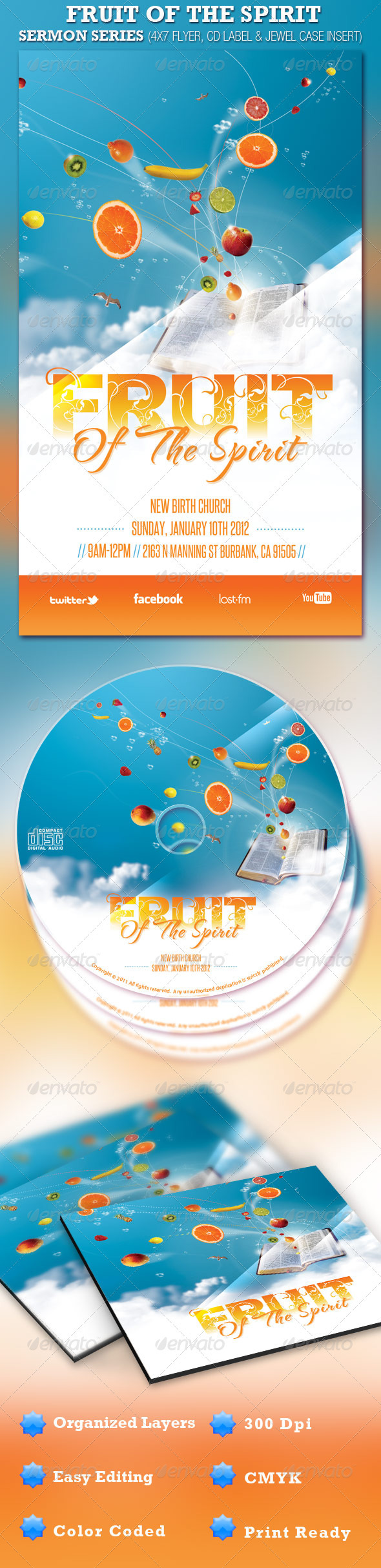 GraphicRiver Fruit of the Spirit Church Flyer and CD Template 918301